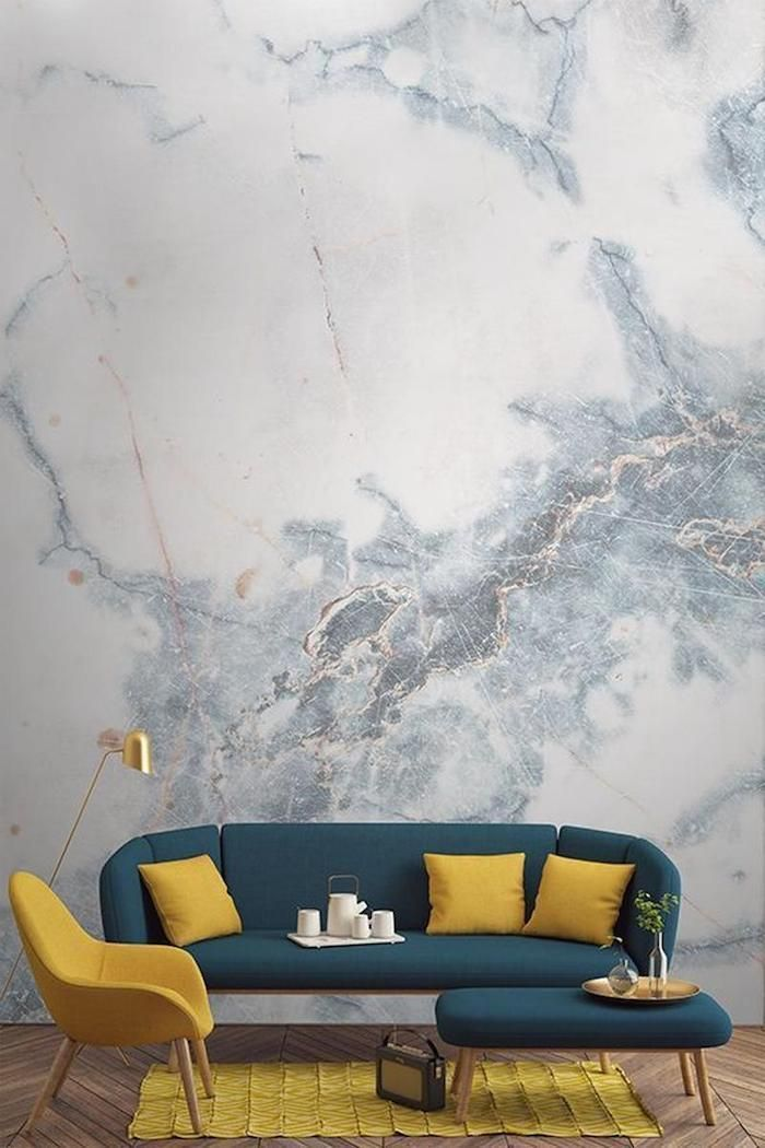 Marble Wall Blue Sofa Stool Best Color For Living Room Walls Mustard Yellow Armchair Throw Pillows In 2020 Home Interior Design House Interior Marble Wallpaper