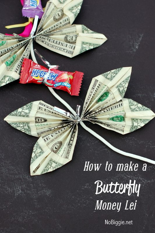 How to make a butterfly money lei money lei leis and money for Making crafts for money