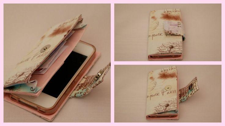 Capinha de celular com porta dinheiro e cartões e com botão de imã