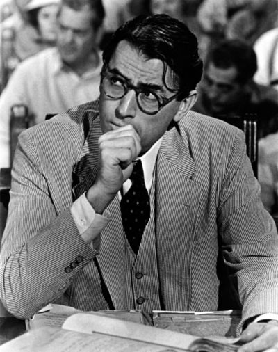 "Atticus Finch. ""It's when you know you're licked before you begin but you begin anyway and you see it through no matter what."""