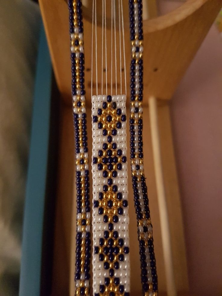 Making a Trio. Navy, Gold and Pearl Bead Loom.