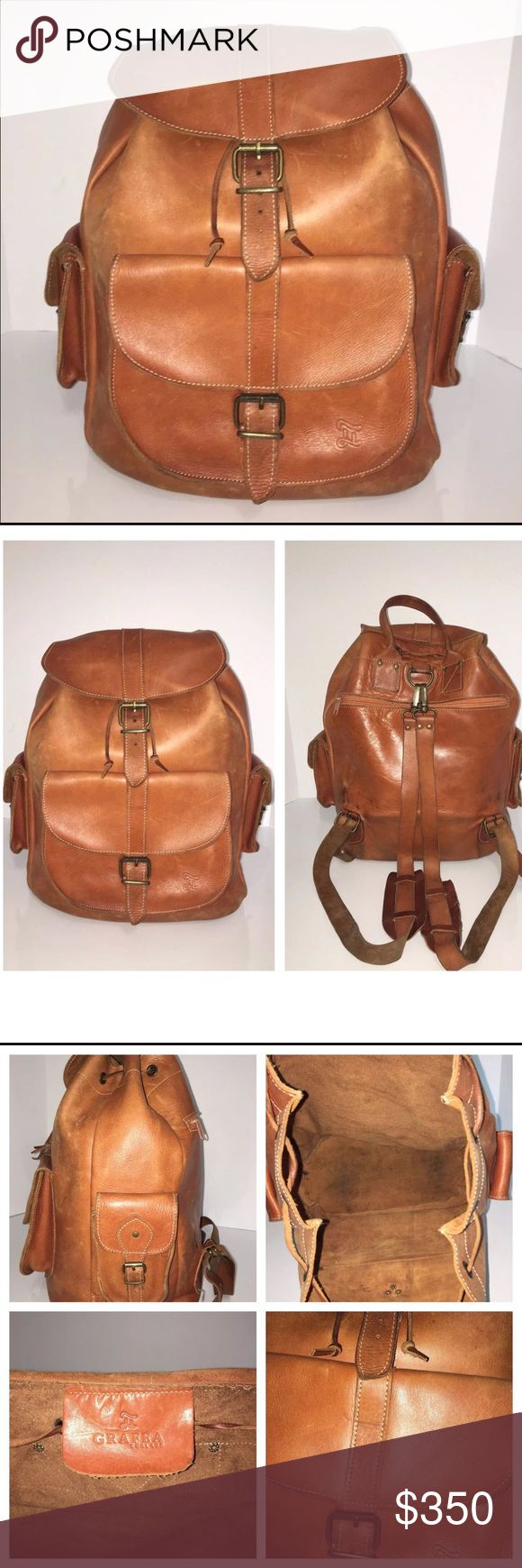 Grifea Vintage brown leather backpack 100% Leather Two adjustable shoulder straps One Front Pocket. One back pocket with Zip closure. Two Side Pockets Made in England.. It has dark spots outside and out. No reap/holes and no odor. Grafea Bags Backpacks