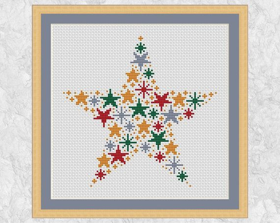 Christmas cross stitch pattern of a star made up of smaller stars in Christmas colours - red, green, silver and gold. An easy and striking stitch for Christmas.  • Stitch count: 96 wide x 94 high • Approximate size on 14 count aida: 6.9in wide x 6.7in high (17.4cm wide x 17.1cm