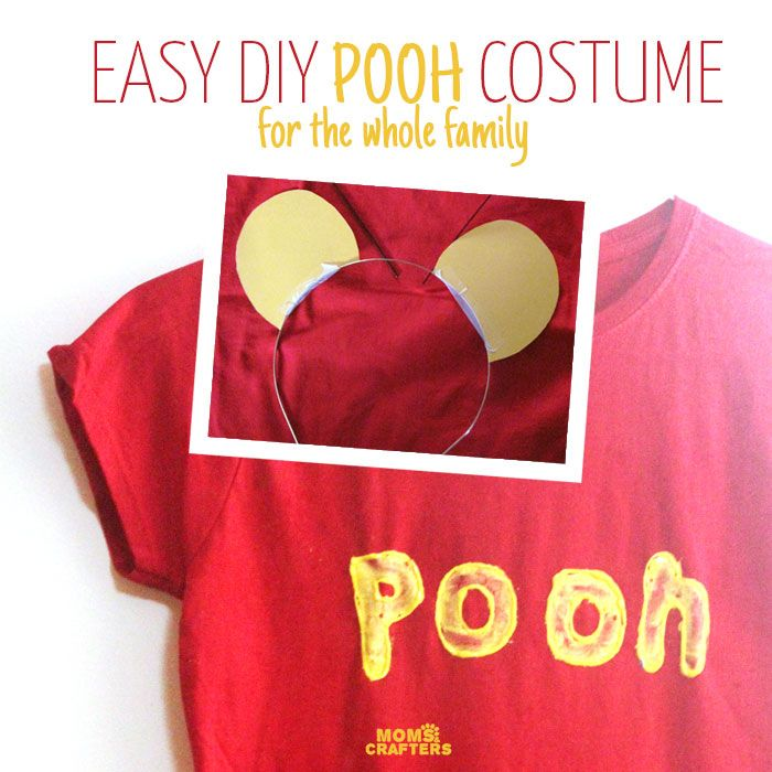 Make this easy no sew Winnie the Pooh costume for baby, toddler, kids, or adults! It's a great easy costume idea for Halloween or pretend play!
