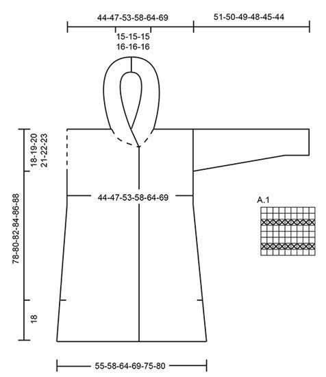 """Chaqueta de punto DROPS con forma en A y capucha, en """"Andes"""". Talla: S – XXXL."""