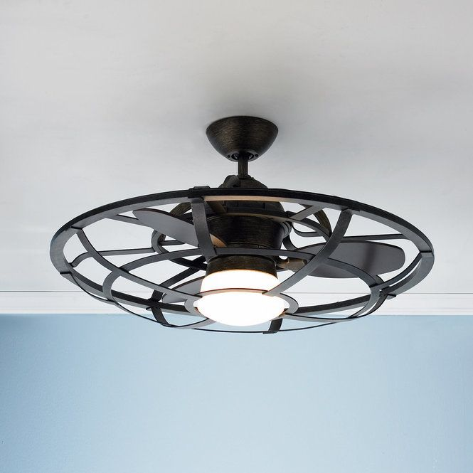 """The industrial style is back and now you can get the same look in this iron cage ceiling fan. Perfect size for loft and office spaces. Three reclaimed wood blades move air around at a 13.5 blade pitch. The white etched glass globe and iron frame make up the rest of this industrial style fan. Chestnut finish in the blades. 75 watt medium base lamp included. Rated for Damp Location.16.25""""Hx30""""W120x20 MM MotorBlade span 26"""".3-speed with remote control included.4.5"""" downrod in..."""