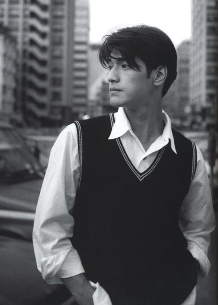 Takeshi Kaneshiro in black and white photo