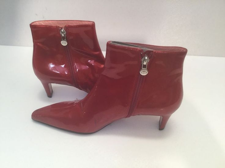 ESCADA Red Patent leather Long Toe Boots Sz 36.5 Never used!
