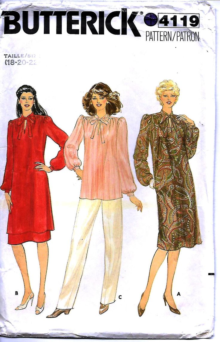 359 best sewing patterns images on pinterest balls christmas tunic dress skirt pussy bow blouse top pattern butterick 4991 womens size 18 20 22 loose jeuxipadfo Gallery