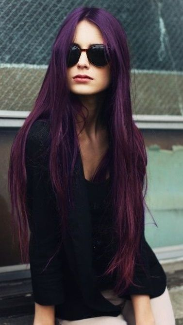 long straight dark purple hair #aubergine #ghdSecrets
