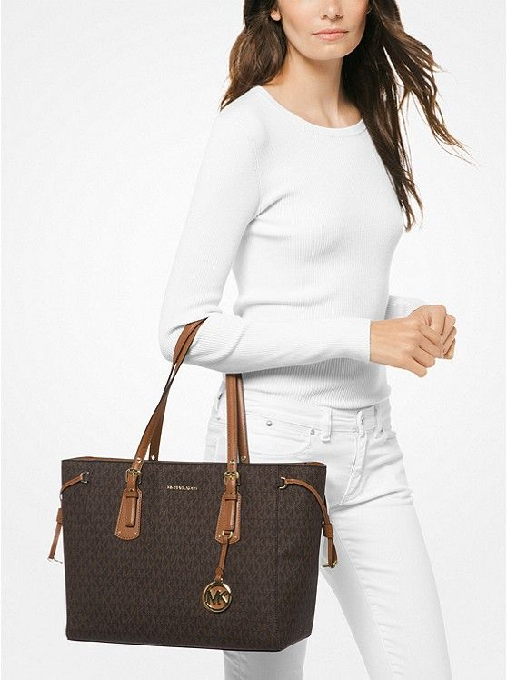 3db1d1493d9a18 MICHAEL Michael Kors Voyager Medium Logo Tote   Elevated: Arm Candy ...