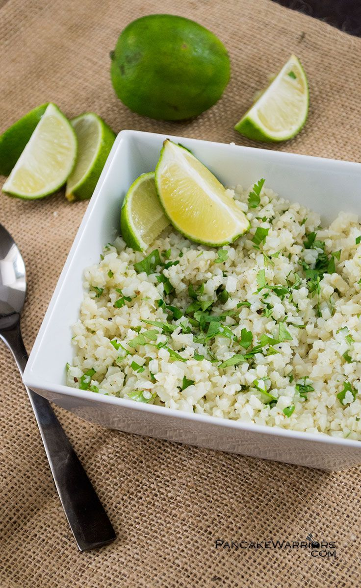 Eat more veggies with this easy cilantro lime cauliflower rice! This simple side dish is ready in minutes and super tasty! Vegan, gluten free, low fat, paleo. low carb, Whole30 approved! | www.pancakewarriors.com