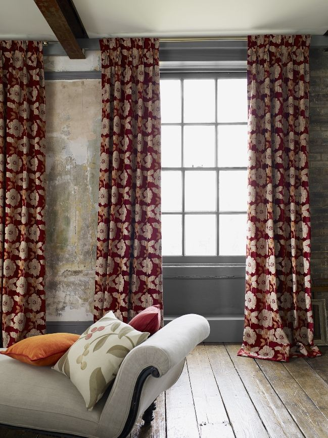 Red floral living room curtains Bouquet