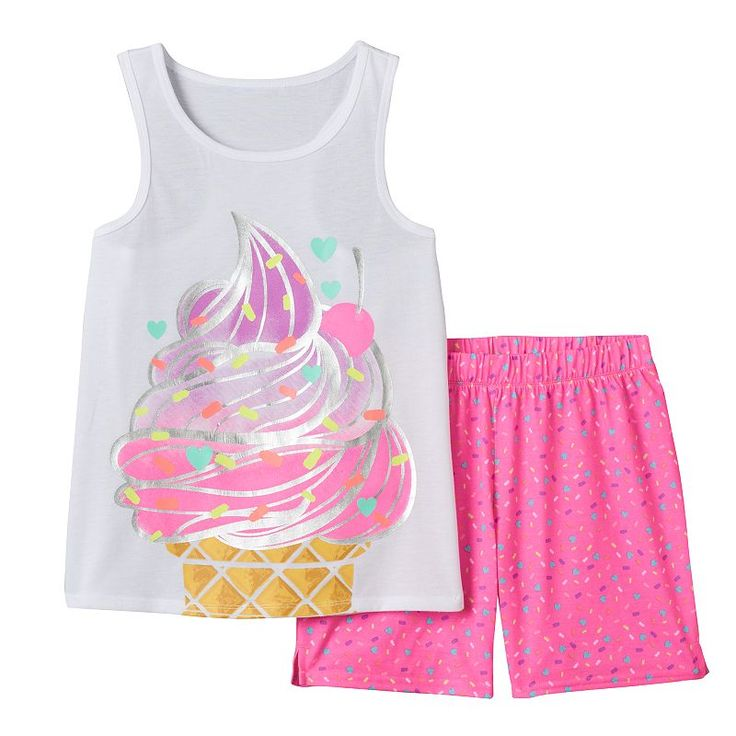 Girls 4-16 SO® Ice Cream Tank & Shorts Pajama Set, Girl's, Size: Xs (5/6), White