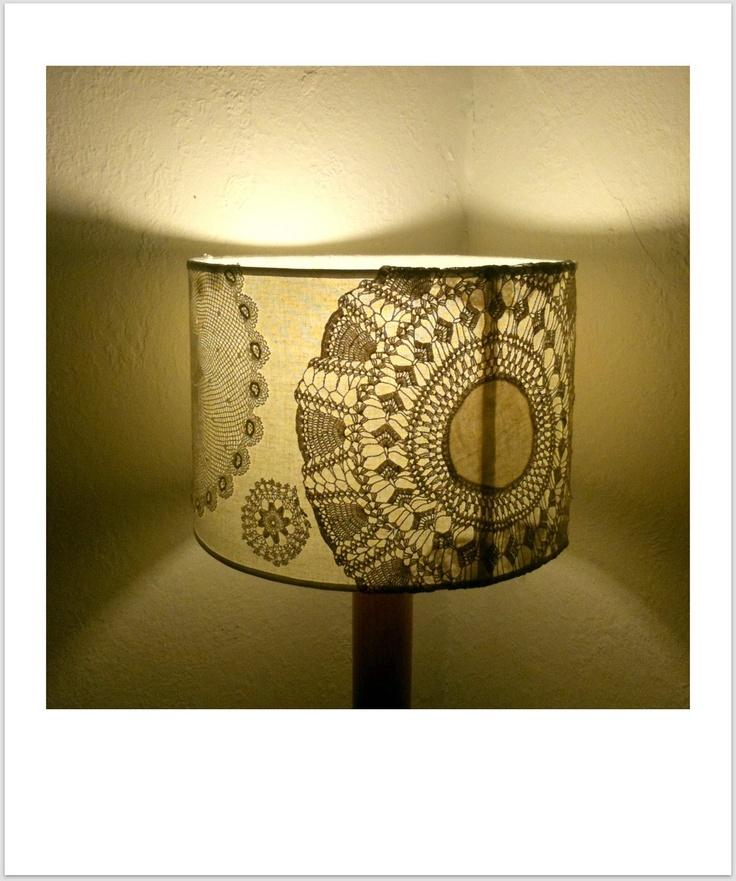 Crochet Doily Lamp Shade DIY...great idea to dress up a traditional Lamp Shade!