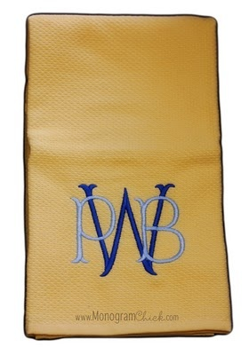 "monogram kitchen towels  would LOVE these to match my yellow and blue kitchen! And the ""W"" is perfect!"