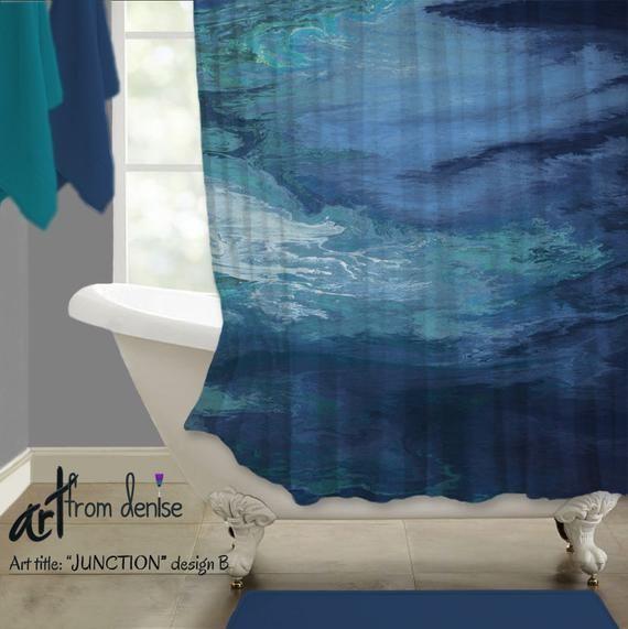 Navy Shower Curtain Blue Master Bathroom Decor Abstract Fabric