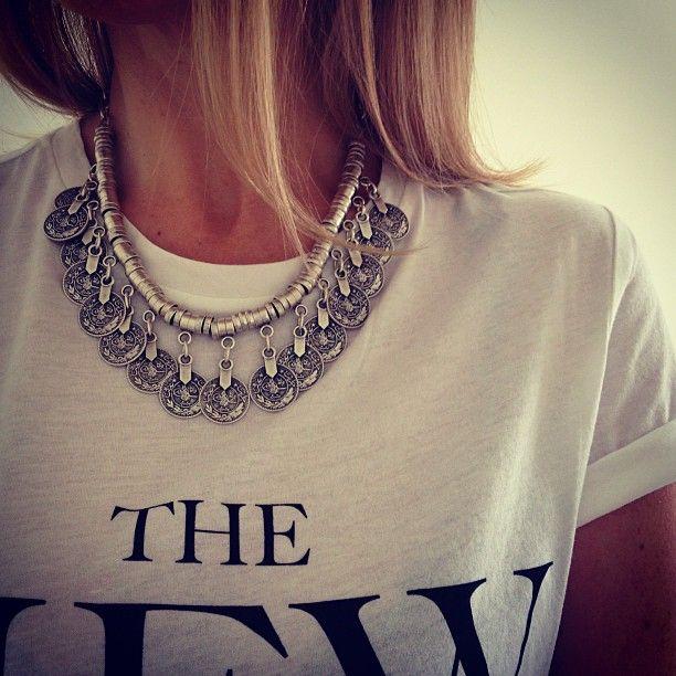 lovely necklace + tshirt  #style #clothing