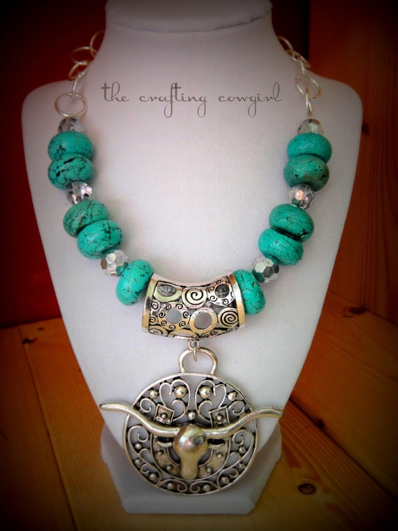 Turquoise Cowgirl Chunky Longhorn Necklace by TheCraftingCowgirl, $40.00