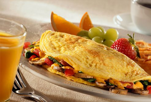 Whip Up a Veggie Omelet Eggs are a good source of protein. It's easy to substitute veggies  for ham and cheese in an omelet. Try carrots, mushrooms, and spinach.