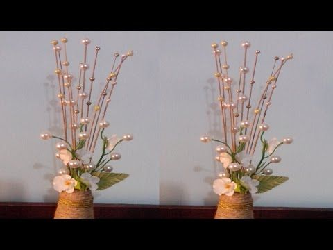 Decorative Flower Sticks Using Pearls Flower Stick Youtube Flower Decorations Floral Art Flower Arrangements
