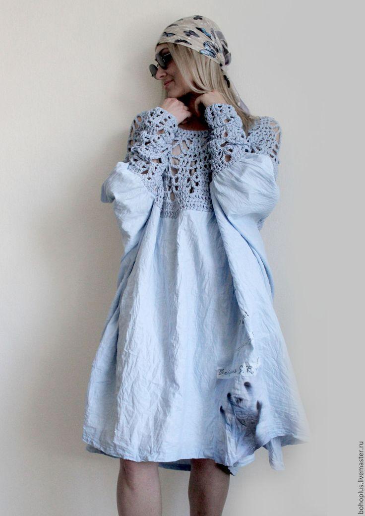 """Купить Платье из тонкого льна """"Стефания"""" - голубой, однотонный, безразмерное, платье летнее, платье, бохо"""