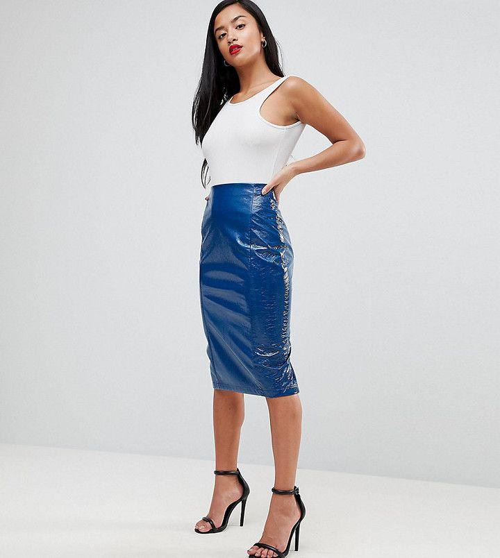Asos Exclusive Cracked Vinyl Midi Skirt