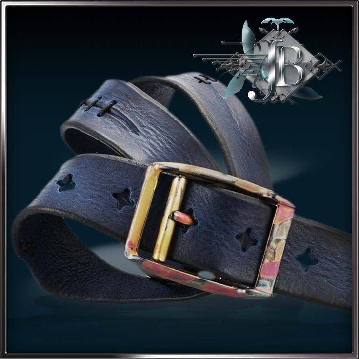 Unique mens belts for jeans. Cool vintage belts in blue leather