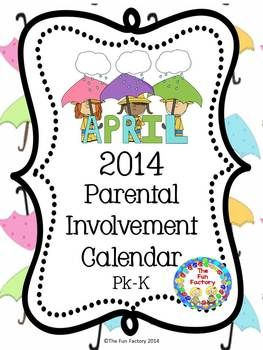 """Free April Calendar 2014 If you want more meaningful """"homework"""" for your PK or Kindergarten students, this freebie April Parental Involvement Calendar is for you. Students and their families will have fun doing activities such as: •Use a flashlight to create shadows of objects. •Talk about animals that have the same properties – 4 or 2 legs, fur, feathers, etc. •Cut pictures from magazines that show zoo animals."""