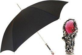 Ombrello Nero Impugnatura Pietra Rossa #pasotti #ombrelli #umbrellas