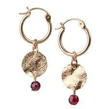 Gold fill hoop & disk with garnet stone from SEOIDIN.