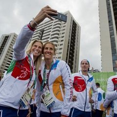 The Czech Republic Olympic team attends a welcome ceremony in the Olympic Village