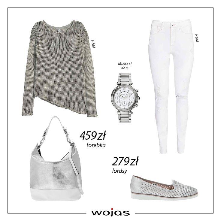 Ażurowy sweter w kolorze popielu idealnie współgra z białymi spodniami, tworząc przy tym typowo wiosenną stylizację. Uzupełnieniem zestawu są metaliczne dodatki z nowej kolekcji Wojas :perforowane lordsy (https://wojas.pl/produkt/23364/lordsy-6452-59 ) oraz srebrna torebka (https://wojas.pl/produkt/23762/torebka--5869-79 ).