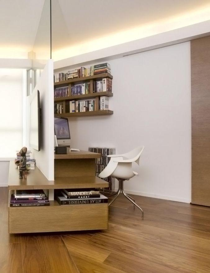 Desain interior kantor minimalis konsep separator atau pemisah ruangan ini adalah, ide yang kreatif sebagai solusi ideal untuk menciptakan ruang kerja nyaman di ruangan yang terbatas.