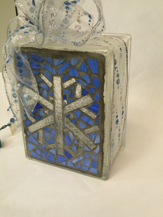 Mosaic snowflake Lighted Glass Block