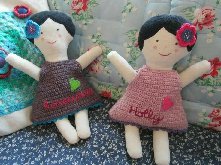 Handmade dolls with crochet dresses and embroidery