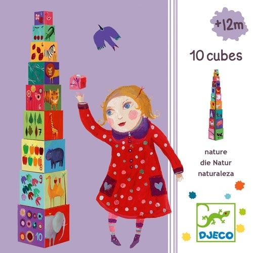 Djeco Animal and Nature Stacking Blocks Beautifully illustrated on all 5 sides. The cubes are made from high quality sturdy cardboard covered in glossy designs and are ideal for babies just learning to stack towers. Numbered 1 to 10, the cubes feature colourful pictures of animals, flowers, fruit, leaves, patterns and so much more. Djeco's stacking cubes can be used to teach numbers and counting, animal recognition and colours.   15 x 15 x 15cm