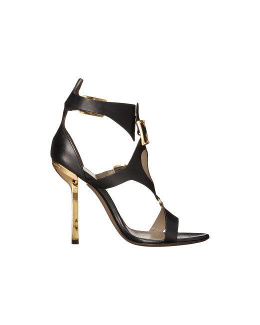 Versace | Black Oro Bizantino Open Toe Heel | Lyst
