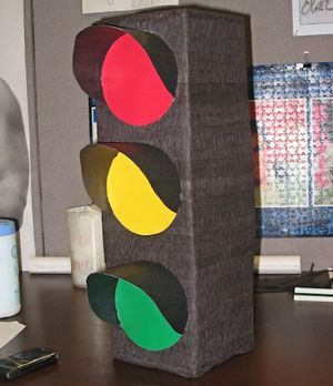 Paper Mache Pictures: Traffic Signal Paper Mache Pinata