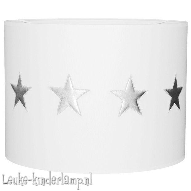 Kinderlamp zilveren sterren harde kap wit 35 cm