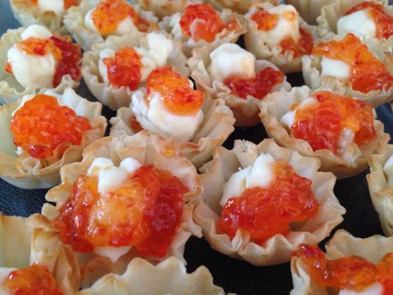 Pepper Jelly Brie Phyllo Cup Appetizers