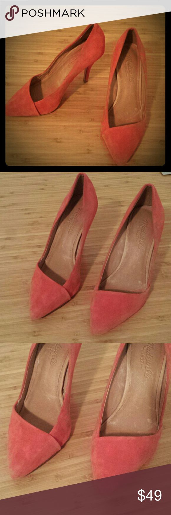 ONE DAY SALE! Madewell mira heels Madewell mira heels. These are gorgeous suede pumps with leather lining. Soles are cushioned and super comfortable. Gorgeous coral, pink color. Great condition. So cute!! Super high quality brand. Retails for $168. Madewell Shoes Heels