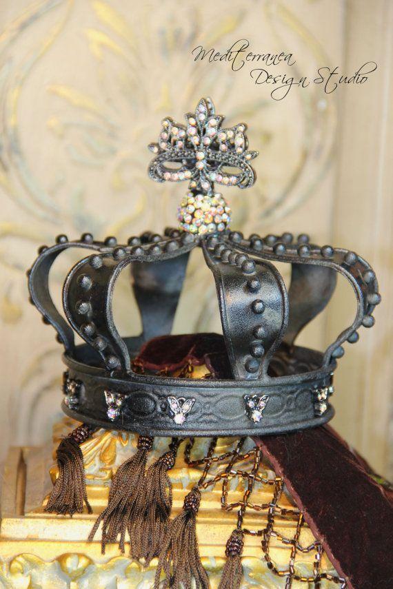 Black metal crown, Embellished crown, crown decor, Mediterranea Design Studio, distressed crown, crown cake topper, wedding decor