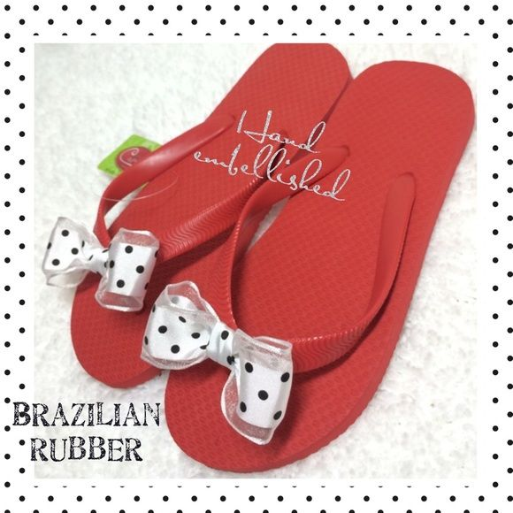 🎉HP!🎉NWT rubber Brazilian flip flops w/ ribbons! Adorable tomato red high quality rubber flops hand adorned with cute polkadot ribbons. New with tag! Hand made. Real Brazilian rubber, not foam. Ribbons are sewn on. Can be gently hand washed with mild soap. Size 5/6. Smoke free home. Cariris Shoes Sandals