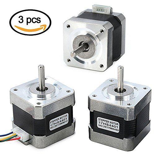 Stepper Motor Nema 17, 3 PCS Nema 17 Stepper Motor 4-lead 1.8 Deg 40N.cm Holding Torque 1.7A 42 Motor for 3D Printer Hobby CNC Router XYZ By Beauty Star - Description: Motor type: Bipolar Stepper Motor Length: 40mm Phase Resistance: 1.5Ohm Phase Inductance: 2.8mH Detent Torque: 2.2N.cm Rotor Inertia: 54g.cm2 Holding Torque: 40N.cm Motor Weight: 280g Step angle: 1.8 deg Step angle accuracy: + - 5%(full step, not load) Resistance accuracy: + - 10% In...