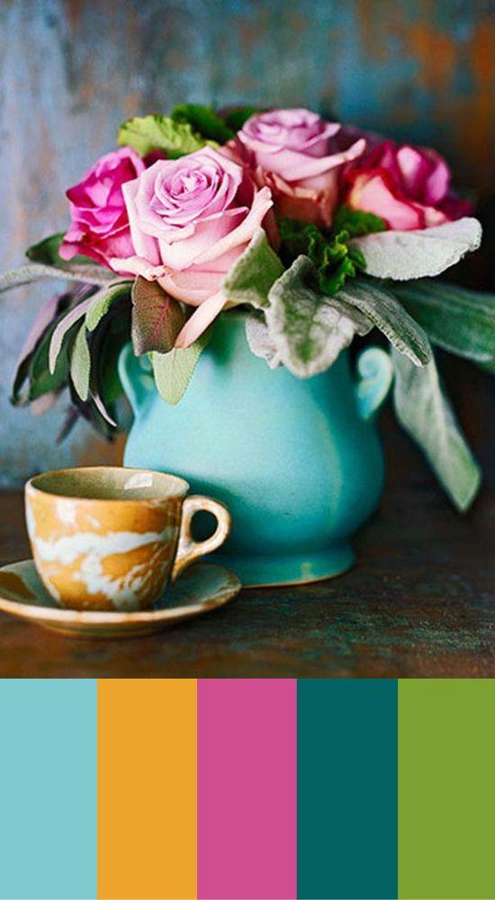 #pantone #colortrend #2014 #interiordesign #collage #pumkinspice #tearose #rhubarb #provincialblue #teal