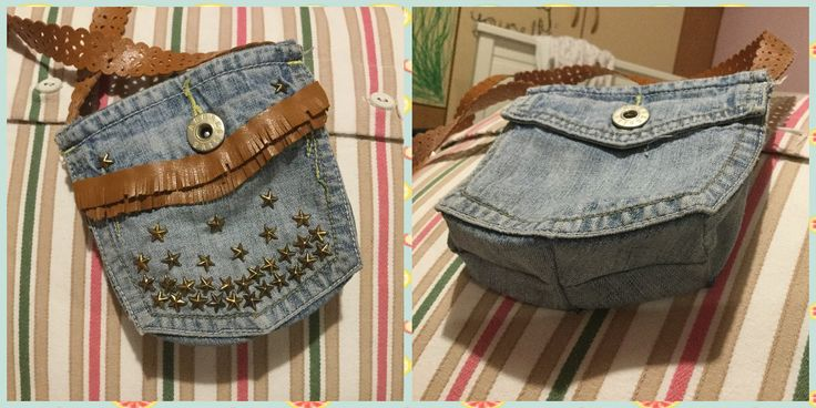 Denim recycling- purse out of jeans' pockets👜♻️