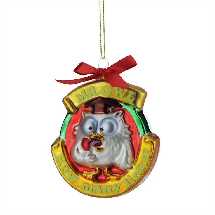 "3.5"" Candy Lane Tootsie Roll Pop Orignal Candy-Filled Lollipop ""Mr. Owl"" Glass Christmas Ornament"