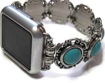 Designer Apple Watch Band - BeadsnTime - Turquoise and Silver Apple Band - Womans Apple Band - 38 mm or 42 mm Band - Stretch Apple Band