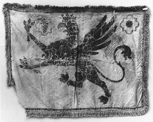 Painted Banner    Date:      16th century  Culture:      Italian  Medium:      Silk  Dimensions:      21½ x 28 in. (54.6 x 71.1 cm)  Classification:      Banners  Credit Line:      Gift of William H. Riggs, 1913  Accession Number:      14.25.1832